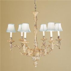 Swedish distressed chandelier for shabby chic look as well!