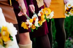 Bridesmaid Bouquets- Fall Wedding - Alternative Bouquet - Yellow, Red, and Orange -