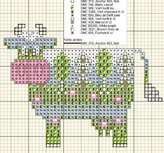 Cross-stitch Decorative Cute Cow, part 2...    Vache foret