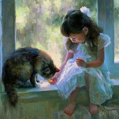 Paintings with people and cats. Vladimir Volegov
