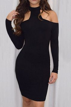 Cut Out Stand Neck Long Sleeve Bodycon Dress