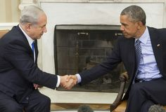 """#DailyMailUK .... """"US President Barack Obama (right) and Israeli Prime Minister Benjamin Netanyahu (left) shake hands during a meeting in the Oval Office of the White House in Washington (2015 file photo)"""".... http://www.dailymail.co.uk/news/article-3789810/U-S-Israel-sign-38-billion-military-aid-package.html"""