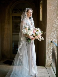 Claire Pettibone Horizon Couture Wedding Gown with beaded Casablanca Juliet style bridal veil.