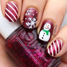 snowman red winter holidays christmas nail art