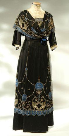 VESTIDO DE NOCHE TERCIOPELO Y SEDA AZUL Y NEGRO 1910 Edwardian Gowns ee8da3d13d3