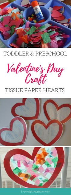 Easy Valentine's Day Craft for Toddlers and Preschoolers - Tissue Paper Heart Suncatchers #artsandcraftsfortoddlers,