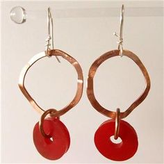 Jewellery designer - my creative journey continues with these fun handmade earrings from recycled copper and red plastic tap washers..