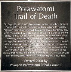 potawatamee indians | Potawatomi Trail of Death Commerative Plaque