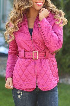 Belt It Out Jacket in Magenta - Ark & Co