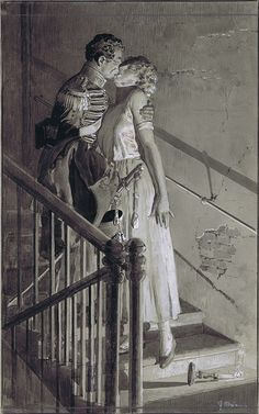 The Staircase (Original) (Signed) by Fortunino Matania at The Illustration Art Gallery