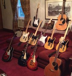 This is my current guitar collection,four Fender Telecasters,one Squier Strat, Two Epiphone Les Pauls, one Squier Mini Strat, a Penco Blonde Acoustic,a Lark acoustic and a Stella Harmony Acoustic