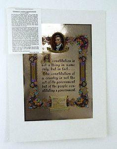 Vintage 1970's Thomas Paine Quotation Color Foil Etch Print Thomas Paine, Famous Quotes, Quotations, 1970s, Vintage Items, Artist, Prints, Color, Famous Qoutes