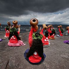 spiritual.  a hula halau preparing for the Merrie Monarch Festival in Kilauea