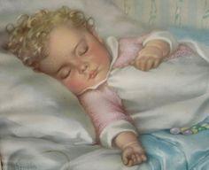 Framed 1930s Baby Nursery Art Print 'A LITTLE DREAM' by American artist Annie Benson Muller. At AngelGrace on Etsy.