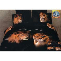 3D obliečka na posteľ s levím vzorom čiernej farby