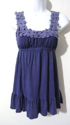 Anthropologie LUSH Floral Flower Vintage Tank Top Shirt Blouse Blue Small S #LUSH #Blouse