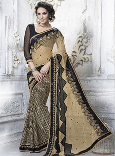 #Black and #Beige #Designer #PartyWear #Saree Features on net and jacquard fabric pallu with Geometric Print, Cotton Thread, Zari, Applique, Sequins & Patch Border Work, art silk and net fabric blouse.