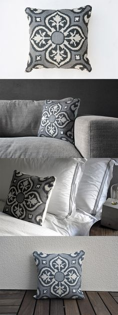 Throw pillows & cushions are timeless must-haves. Instantly add sophistication and warmness to your sofa and upgrade your interior's look. Handmade by the women of Beirut #ShopForACause. It would be a beautiful and easy addition to your home. Cross stitching following the geometric ornamental traditional pattern: 100% cotton threads of dark gray, light gray and white.