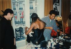 hair stylist Lisa Mitchell captures candid shots of maestro John Galliano, super model Naomi Campbell and make-up artist Stephane Marais at Dior Backstage