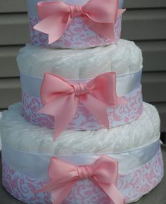 Pink Damask Diaper Cake for Girls Baby Shower Gift, Baby Gift Baby Shower Centerpiece New Mom New Baby.via Etsy.
