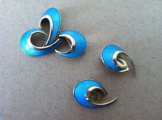 Norwegian Sterling Silver Earrings and Brooch by pineapplepost, $98.00