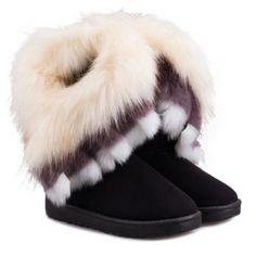 $29.26 Casual Multicolor Fur Design Women's Snow Boots