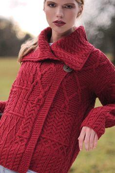 Carraig Donn Irish Aran Wool Sweater Womens One Button Patchwork Wrap Cardigan