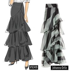 Wrap style maxi skirt in silk organza by Johanna Ortiz. Sew the look(tm) with lined skirt modified. Vogue Patterns, Dress Patterns, Sewing Patterns, Diy Fashion, Fashion Outfits, Fashion Design, Diy Pochette, Maxi Skirt Style, Floaty Dress