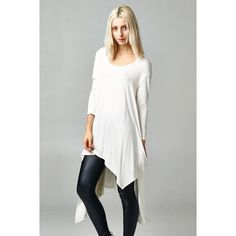"""LOWEST """"Flaunt It"""" Asymmetrical Top Asymmetrical hem high low top. Available in ivory and peach. This listing is for the IVORY. True to size. Brand new. Bare Anthology Tops Tees - Long Sleeve"""
