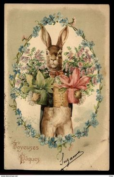 Vintage French Easter postcard dressed rabbit with flowers. Easter Art, Hoppy Easter, Easter Crafts, Images Vintage, Vintage Cards, Vintage Postcards, Lapin Art, Easter Bunny Pictures, Diy Ostern