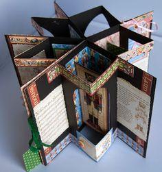 Stampensteins Castle: Pop-up Star-Book (nur Abb. - keine Anleitung!) Idee für Sizzix Accordion-Album (!?)
