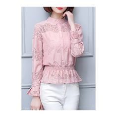 Peplum Waist Long Sleeve Lace Panel Pink Blouse ($29) ❤ liked on Polyvore featuring tops, blouses, pink, lace insert top, pink blouse, peplum tops, print peplum top and pink top