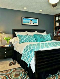 Bedroom Decor Turquoise turquoise, gray, and white teen bedroom. my daughter decorated her