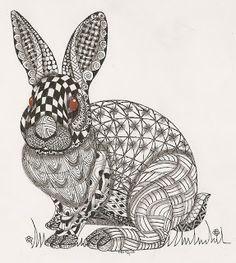 "Adri: ornate animal illustrations ""rabbit"" zentangle"