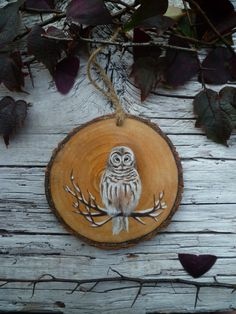 Large Rustic Tree Ornament: Night Owl by AliceCEades on Etsy Noel Christmas, Christmas Crafts, Christmas Decorations, Christmas Presents, Wooden Ornaments, Xmas Ornaments, Homemade Ornaments, Advent, Owl Crafts