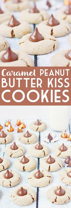 Caramel Peanut Butter Kisses Cookies -- Caramel peanut butter kisses cookies are simply heavenly due to the heavenly combination of gooey caramel and chocolate wit the softest, chewiest peanut butter cookie. | isthisreallymylife.com #cookies #recipe