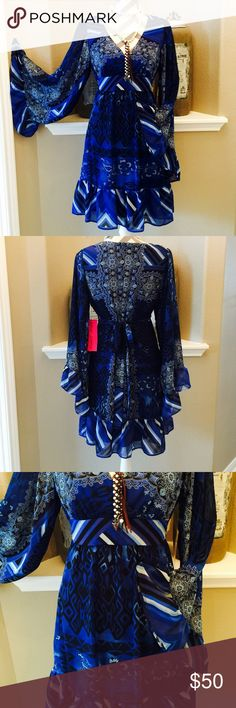 "HP Betsey Boho Dress Beautiful boho long sleeve dress with gorgeous sleeves. V-neck top worth empire waist that ties in the back. Bust measures 19"" from armhole to armhole @ 36"" from shoulder to hem. 21"" zipper down the back. 100% poly, dry clean. NWT. HP Chosen 7/20 Best in Dresses & Skirts Party Chosen by Stephanie @stepher2009 Check out Stephanie's Beautiful closet! Betsey Johnson Dresses"