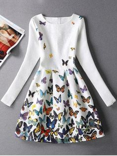GET $50 NOW | Join RoseGal: Get YOUR $50 NOW!http://m.rosegal.com/print-dresses/long-sleeves-jacquard-butterfly-dress-686322.html?seid=7922905rg686322
