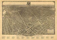 Washington, D.C. District of Columbia, beautiful capital. Olson, 1921.  Vintage restoration hardware home Deco Style reproduction map print.