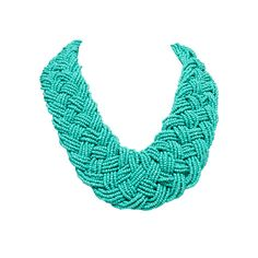 Turquoise Braided Seed Bead Necklace.
