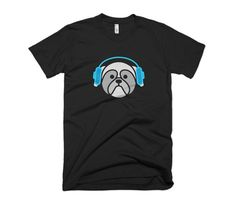 Dog Icon Design Graphic Tee - Rocket Blue Logo - Minimal Design - Blue Headphones - Dog listening to music - Black T-Shirt - Shih Tzu