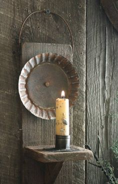 Primitive Early Lighting Inspired Make-Do Reflector Candle Holder Sconce w/Stub…
