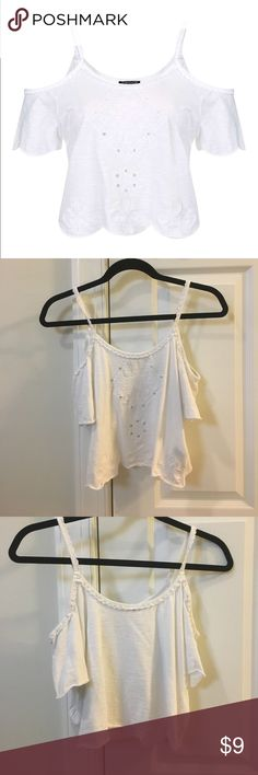 Embroidered Cold Shoulder Tank White cold shoulder embroidered crop tank; Worn once Topshop Tops Crop Tops