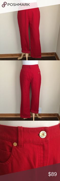 """St. John Sport classic fit red jeans sz 4-short St. John Sport classic fit red jeans, size 4.  These have been professionally hemmed to fit a shorter inseam.  Stretch denim, classic rise, relaxed cut, 5-pocket style, zip and button closure.  Condition:  very good pre-loved, some minor fading at edges and some wear on button, see photo 3.  Flaw:  interior tag has been torn, see photo 5.  Material: 96% cotton/4% elastane.  Measurements (approximate, taken flat): length 38"""", inseam 27.5"""", rise…"""