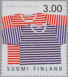 "Tricot Fabric, ""Tasaraita"" knitwear, designed by Annika Rimala for Marimekko , (Finnish Design) . Marimekko Fabric, Tricot Fabric, Going Postal, Stamp Collecting, Mail Art, Postage Stamps, Finland, Printing On Fabric, Knitwear"