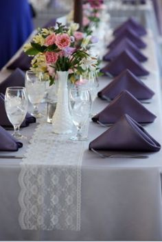 Beautiful tables from my grey, lavender and lace wedding