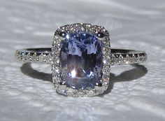 2-Carat Cushion Violet Blue Ceylon Sapphire in White Gold Diamond Halo Engagement Ring, by JuliaBJewelry