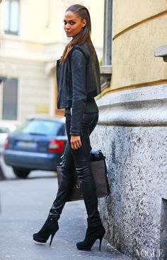 Joan Smalls in our classic leather leggings. #mfw #streetstyle