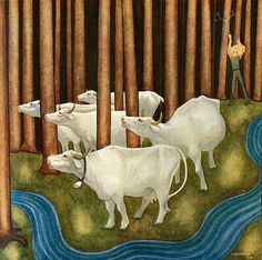 """""""Einar Norelius, born 20 July 1900 in Falun , died in Bjursås in Falun July 14 1985 , was an illustrator and story writer. Perhaps best known for the fairy tale Peter and his four goats as well as signatories to Gösta Knutsson's Pelle . Fairytale Fantasies, Cow Art, All Nature, Scandinavian Art, Inspiration For Kids, Children's Book Illustration, Light Art, Art Pictures, Troll"""