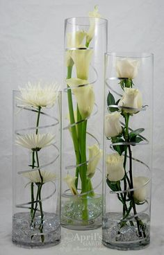 For a Modern Party Spider mums Calla Lilies Roses LED Lights are in the Pebbles at the bottom of the vases Flowers by Aprils Garden www durangof is part of Wedding decorations - Floral Centerpieces, Wedding Centerpieces, Wedding Table, Floral Arrangements, Wedding Decorations, Spider Mums, Calla Lilies, Lys Calla, Lilies Flowers